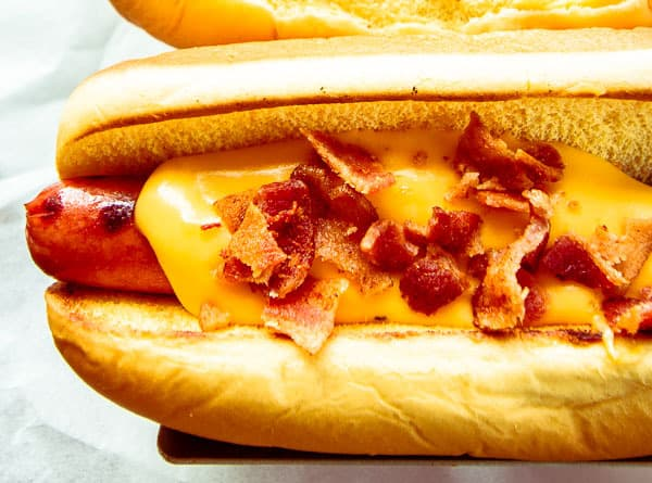 Cheesy Bacon Beef Hot Dogs