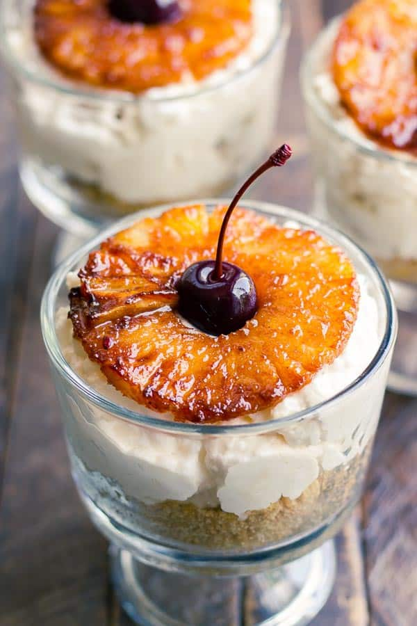 These Grilled Pineapple No-Bake Cheesecakes are as pretty to look at as they are delicious to eat!