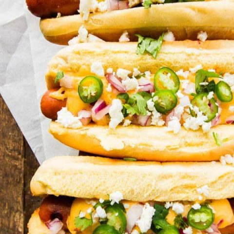 Mexican Gourmet Hot Dogs - cheesy, a little spicy and SO delicious!