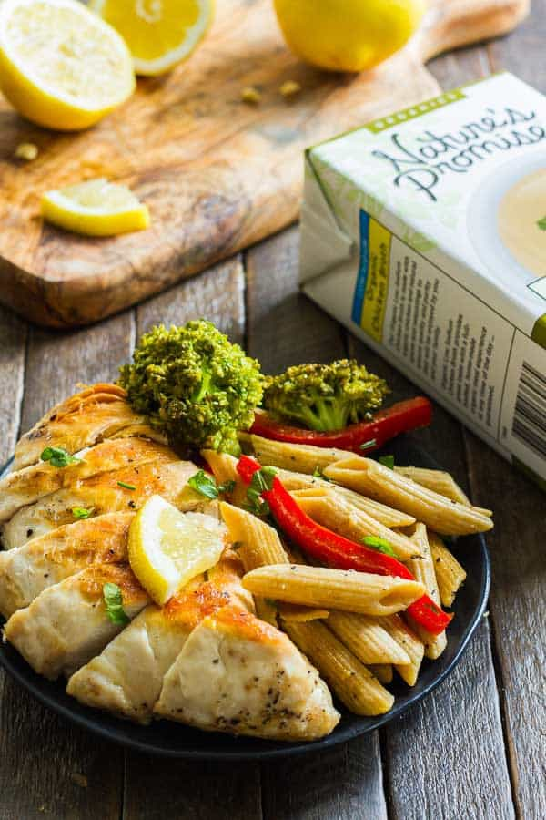Lemon Pepper Chicken Pasta - pasta, broccoli and red bells with chicken and delicious lemon pepper! Sub your favorite veggies or skip the chicken to make it vegetarian.