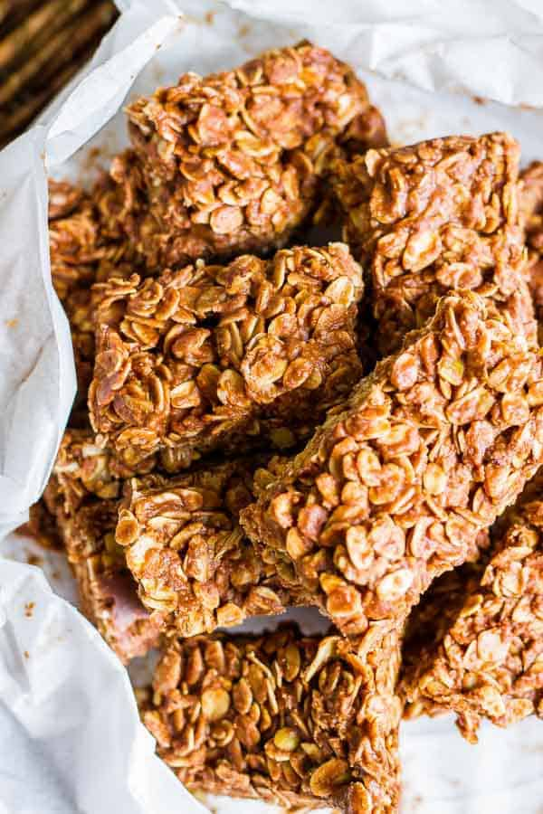 Best Almond Butter No Bake Granola Bars - just THREE ingredients and they are so good! This version uses Chocolate Coconut Cashew & Almond Nut Butter (any almond butter will do)!