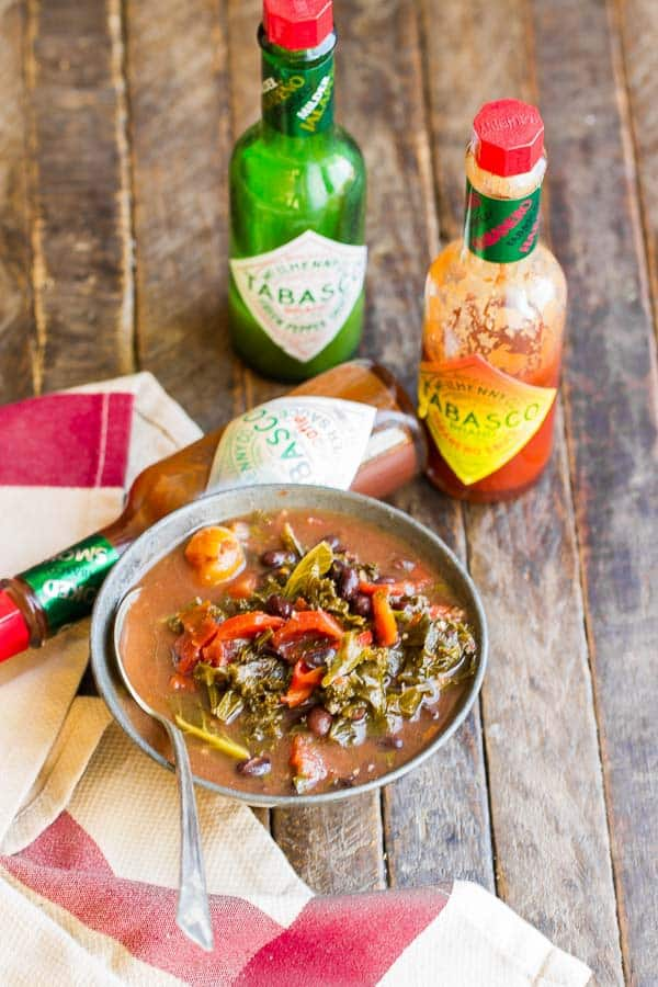 Black Bean and Kale Soup is so simple and has so much flavor! Great way to eat healthy and hearty without a lot of calories, too.