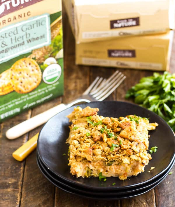 Fresh Broccoli Rice Casserole with Chicken - Cheesy, hearty and has a ton of flavor and crunch from the buttery cracker topping!