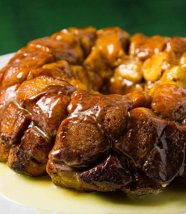 Cinnamon Roll Monkey Bread with an Eggnog Glaze