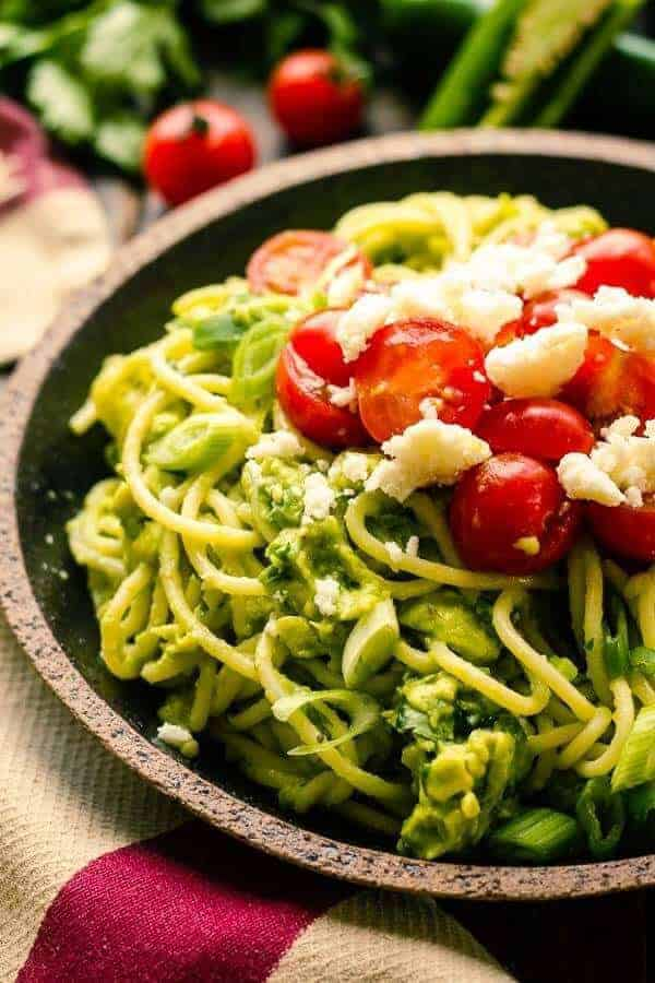 Spicy Avocado Pasta with Jalapenos and Queso Fresco
