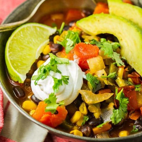 Healthy Black Bean Enchilada Soup