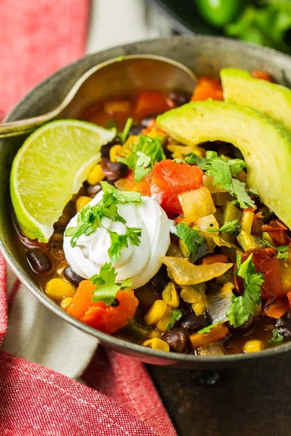 Healthy Black Bean Enchilada Soup