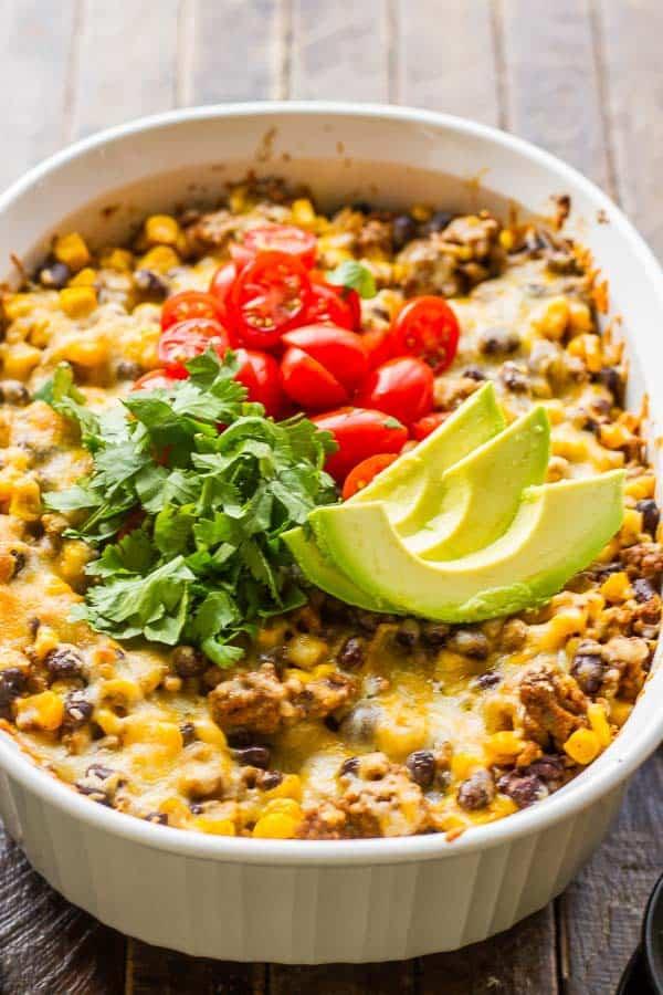 Dorito Taco Casserole with Black Beans and Corn