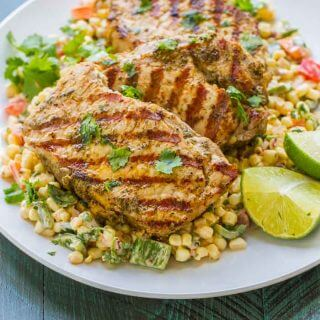 Grilled Boneless Pork Chops with Mexican Corn Salad