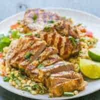 Grilled Boneless Pork Shops with Mexican Corn Salad