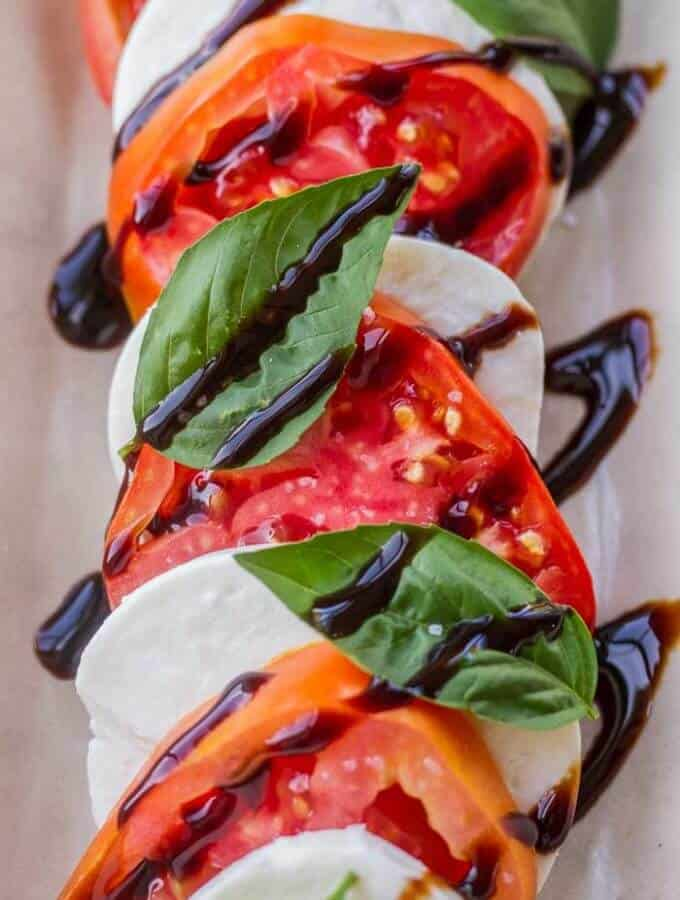 Caprese Appetizer Salad with a simple Balsamic Glaze - the best salad EVER, especially with fresh summer tomatoes!