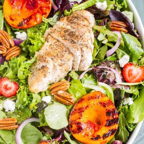 Grilled Nectarine Salad with Garlic-Pepper Chicken