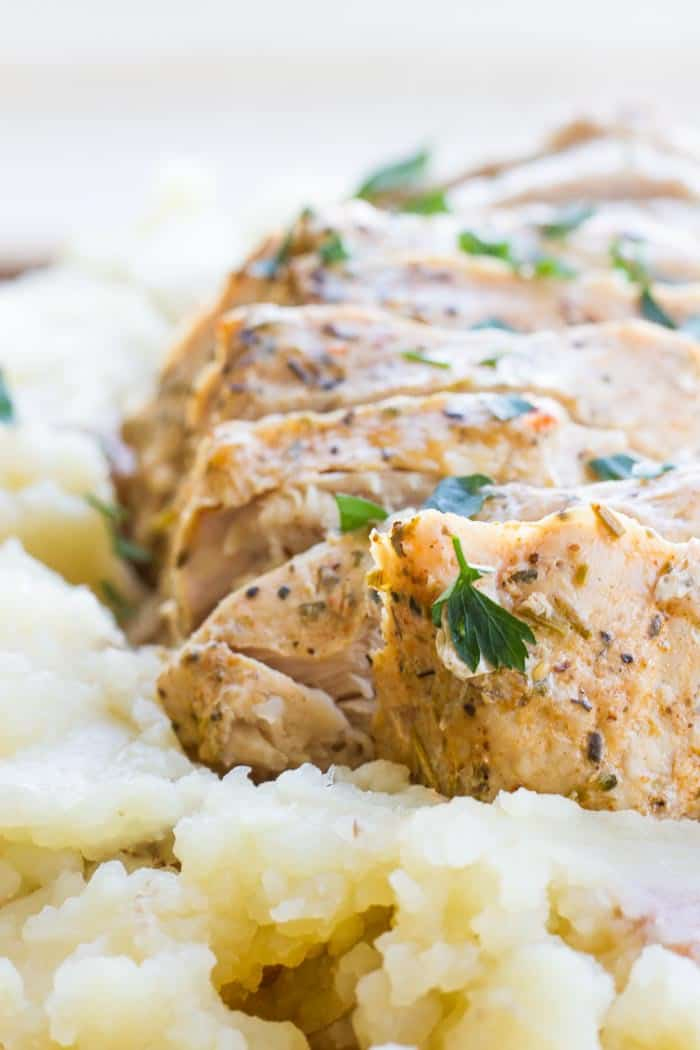Instant Pot Garlic & Herb Roast & Blue Cheese Mashed Potatoes #instantpot