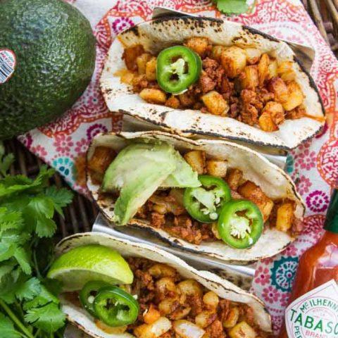 Chorizo and Potato Tacos with Avocado Crema
