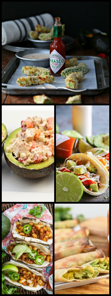 A collage of five photos with different dishes made with avocados and TABASCO sauce.