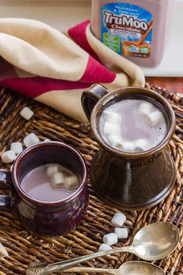 Two mugs of hot chocolate (TruMoo Chocolate Milk)