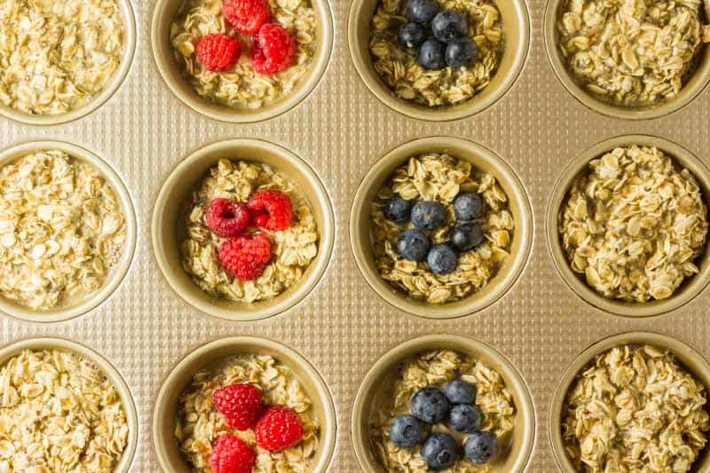 Baked Oatmeal Cups in muffin tin before going into the oven.