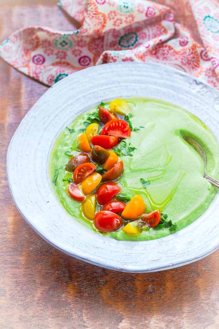 This avocado soup is simple, healthy and full of flavor.