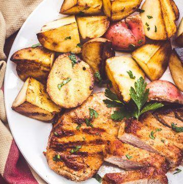 Brown Sugar Pork Chops with Garlic Butter Potatoes