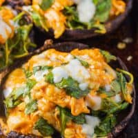 Keto Stuffed Portobello Mushrooms (Buffalo Chicken & Spinach)