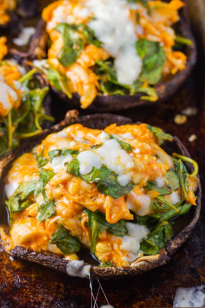 Keto Stuffed Portobello Mushrooms Buffalo Chicken Spinach