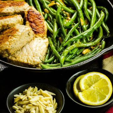 One-Skillet Pork & Green Beans Amandine Recipe