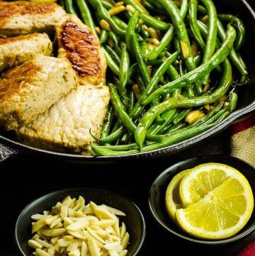 One-Skillet Pork & Green Beans Amandine Recipe