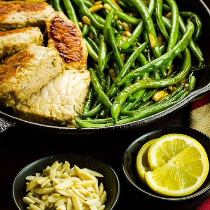 One-Skillet Pork & Green Beans Amandine