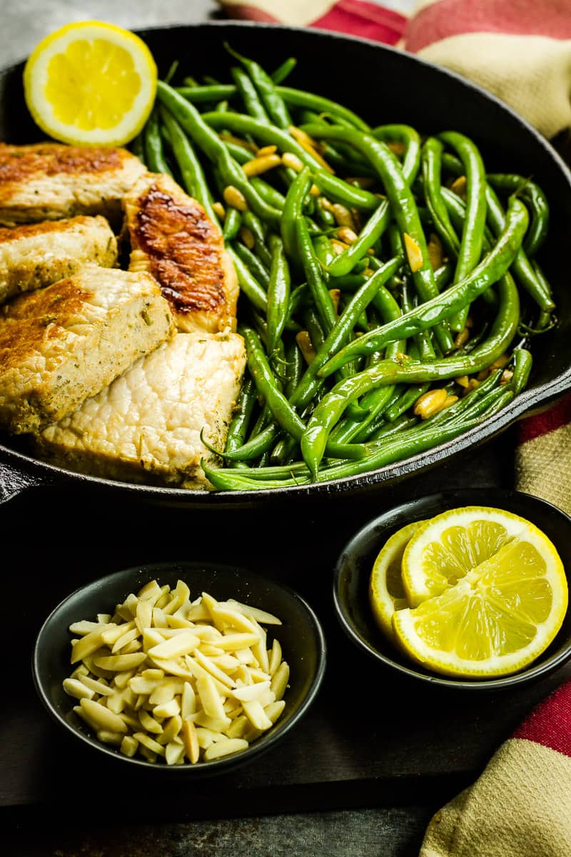 One-Skillet Pork and Green Beans Amandine