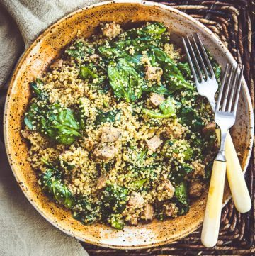 Instant Pot Quinoa Spinach Salad with Sausage
