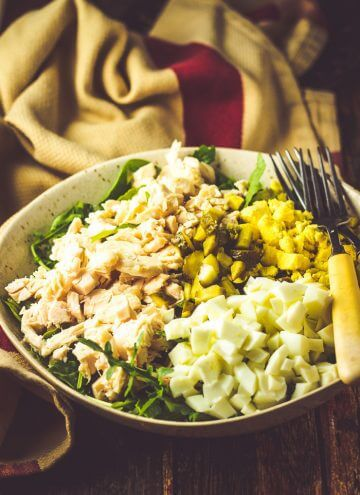Spinach, Egg & Dill Pickle Salad with Chicken