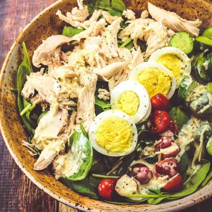 Simple Spinach Salad with Creamy Parmesan Dressing