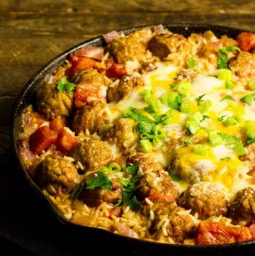 6-ingredient Meatball and Rice Skillet Meal