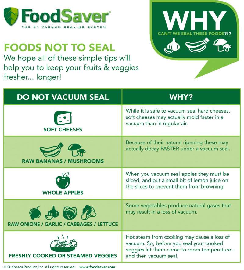 foods that cannot be vacuum sealed