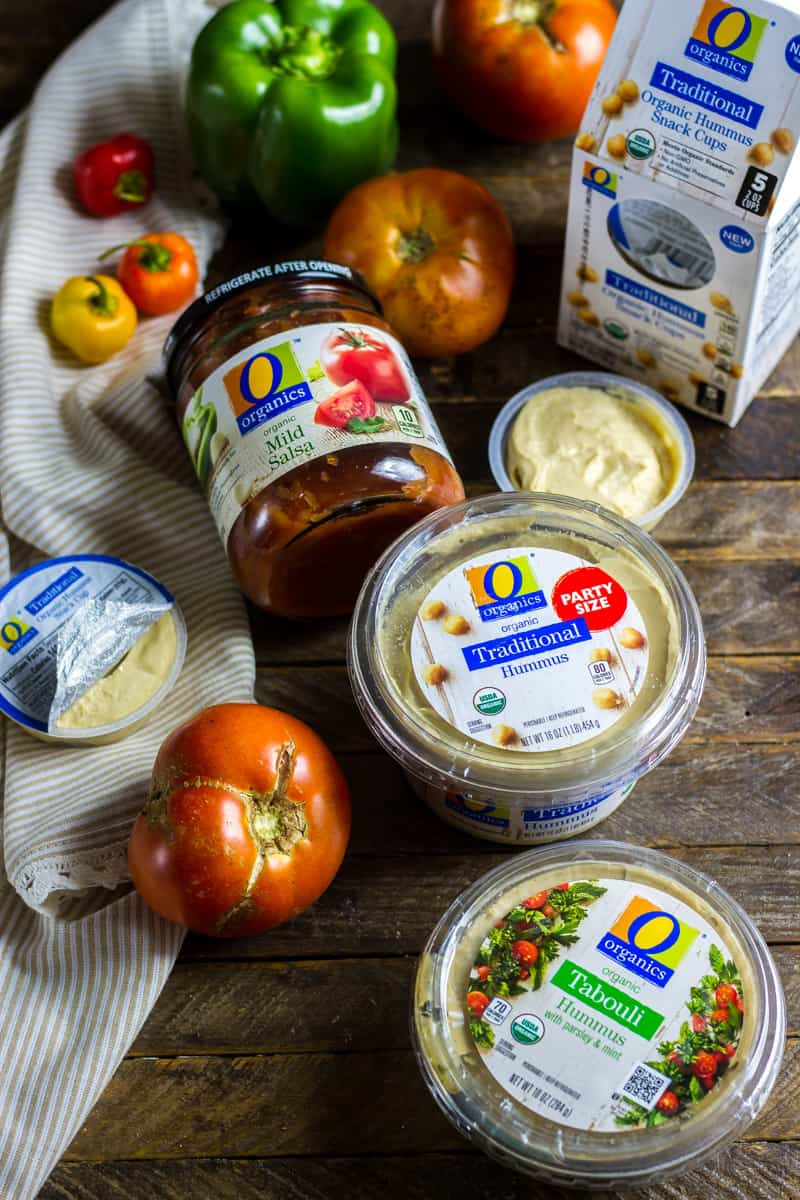 An assortment of Safeway products to make Individual and party-sized Hummus Dip