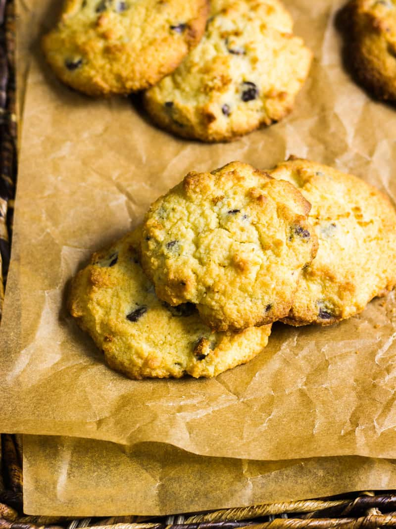 Keto chocolate chip cookies on brown parchment paper   Low carb chocolate chip cookies