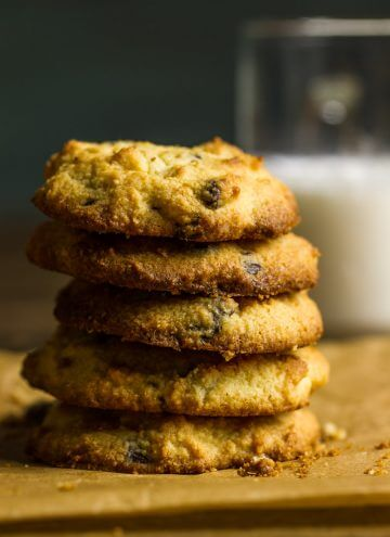 A stack of keto chocolate chip cookies next to a glass of milk