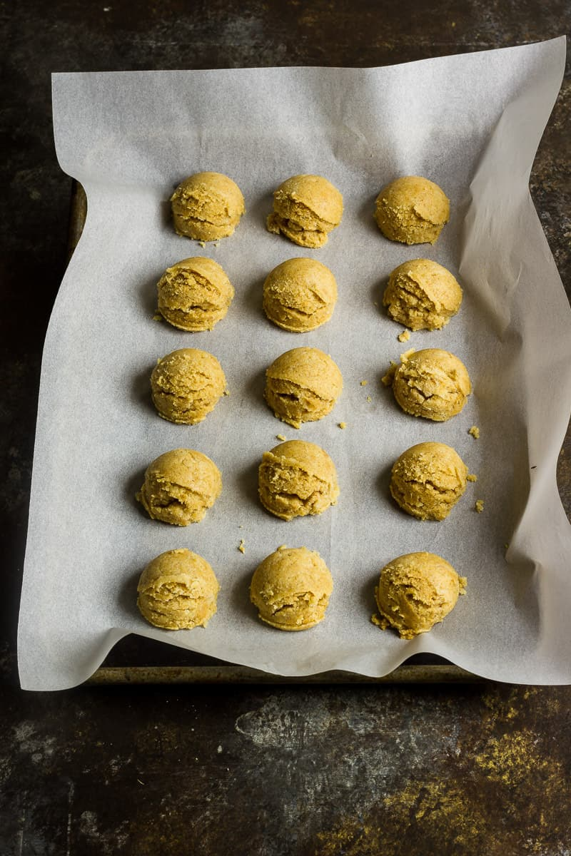 Keto Cookie Dough | Peanut Butter Cookie Dough bites before being coated in chocolate