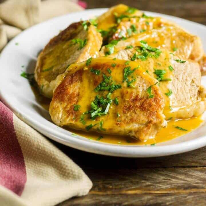 Instant Pot Pork Chops with a Dijon Butter Sauce