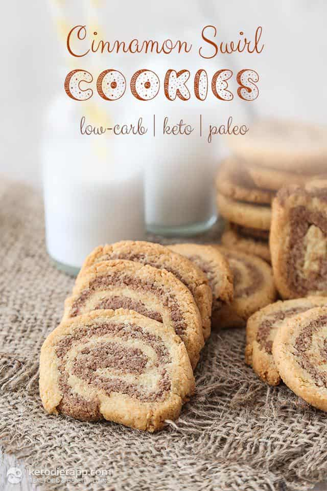 Keto Cinnamon Swirl Cookies plus more great recipes for keto cookies!
