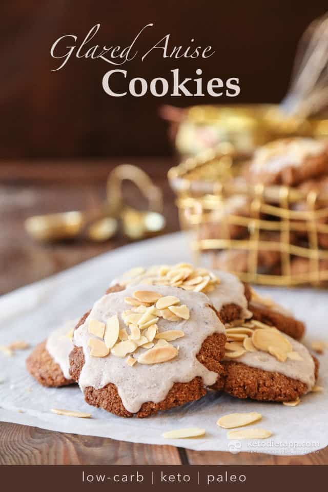 Keto Glazed Anise Holiday Cookies plus more great recipes for keto cookies!