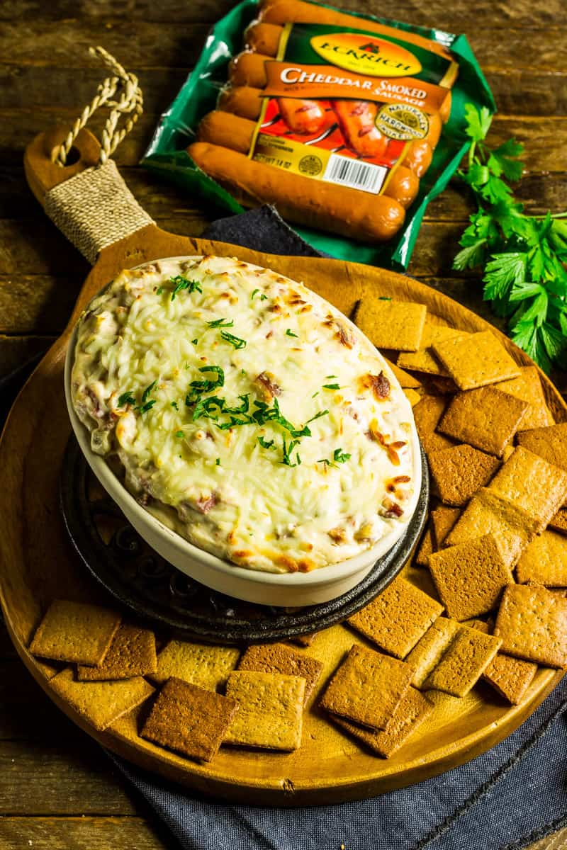 This Sausage Cream Cheese Dip recipe uses just 3 ingredients and makes a great appetizer for hanging with friends, tailgating and definitely the Super Bowl! Can be made in the crockpot, too! #appetizers #superbowl #tailgating #recipes #3ingredients