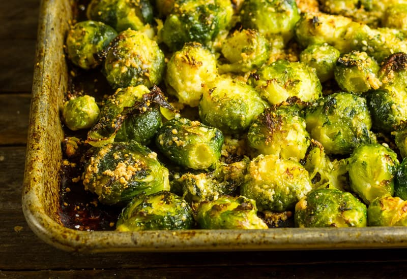 Roasted Smashed Brussels Sprouts on a sheet pan