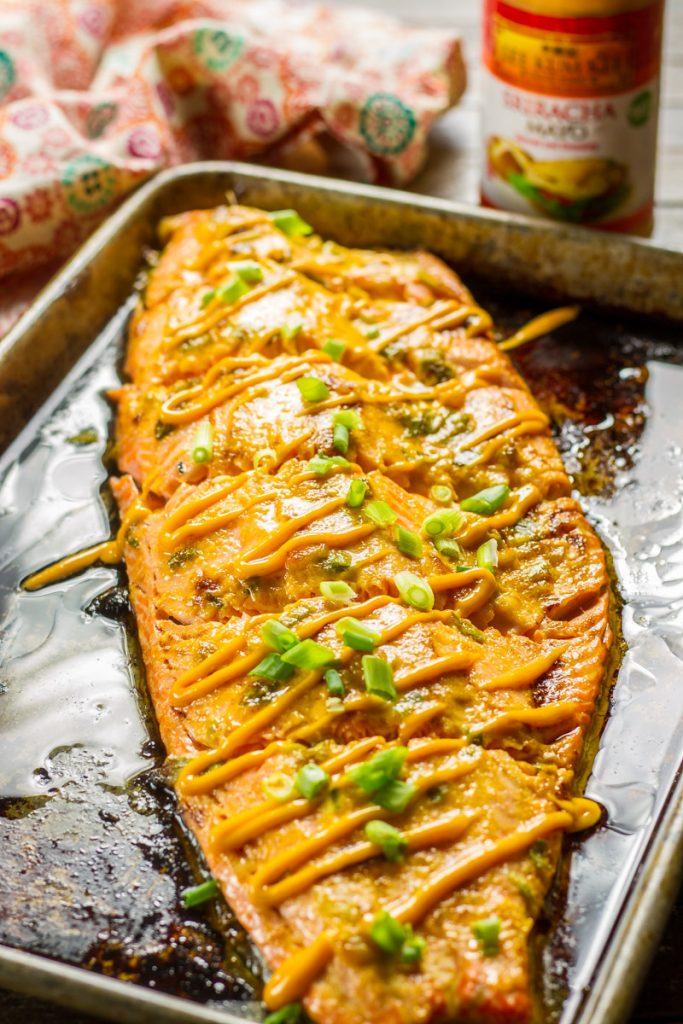 Baked Salmon with Mayo just out of the oven still on the baking sheet