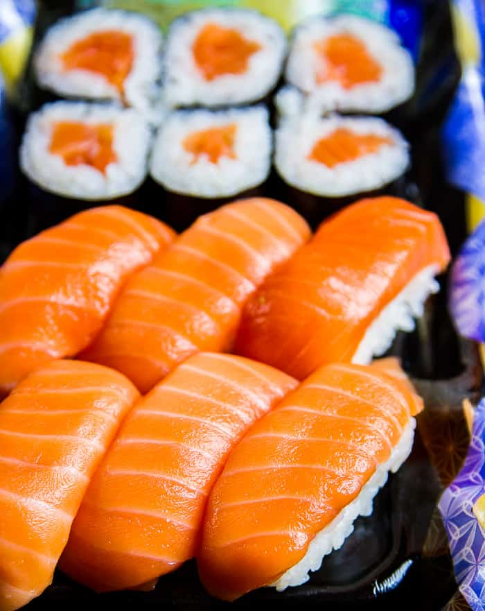 An order of Wegmans salmon sushi, delivered by Wegmans Meals 2go
