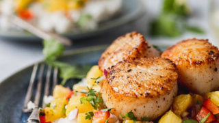 Seared Scallops with Coconut Rice & Pineapple Salsa