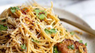 Cilantro Spaghetti Aglio E Olio with Scallops