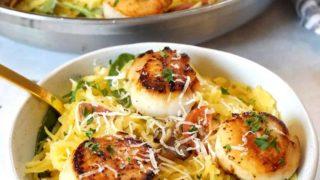 Low-Carb Seared Scallops & Spaghetti Squash