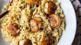 Pan Seared Scallops with Orzo Piccata