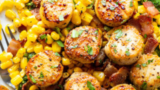 Perfectly Seared Scallops with Bacon and Kale Pesto